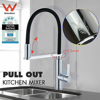 Round Kitchen Laundry Sink Mixer Tap 360° Pull Out Swivel Spout Spray Black Wels