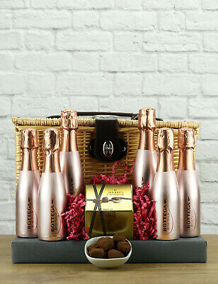 Pink and Sparkly Prosecco Hamper - 6 Mini Bottega Rose Gold & Truffles Gift Set