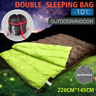 Double Outdoor Camping Sleeping Bag Hiking Thermal Winter 5-15°C 220x145cm