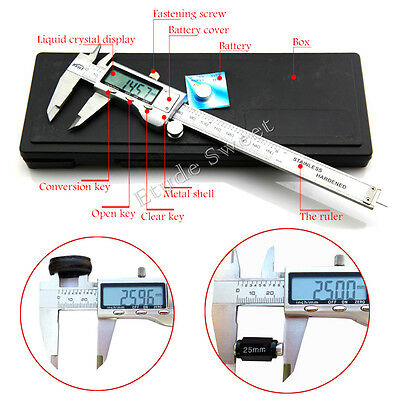 "6"" 150mm Stainless steel Digital Vernier Caliper Gauge Micrometer LCD Display"