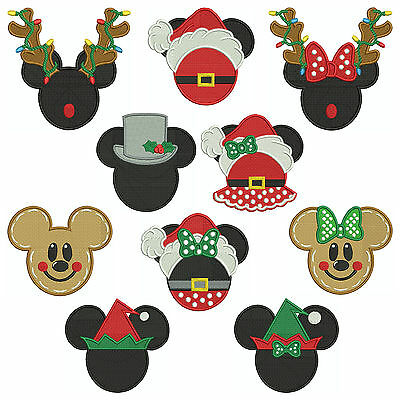 * Mickey & Minnie CHRISTMAS * Machine Embroidery Patterns * 10 Designs, 3 sizes