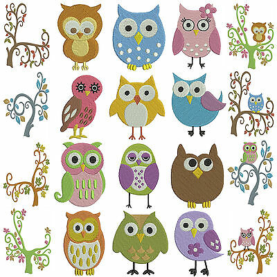 * OWLS * Machine Embroidery Patterns * 20 designs