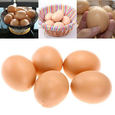 5Pcs Fake Dummy Egg Hen Poultry Chicken Joke Prank Plastic Eggs Home Party Decor