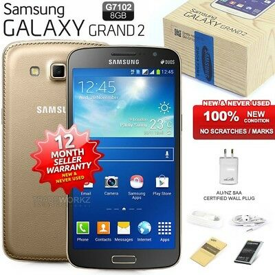 New Sealed Unlocked SAMSUNG Galaxy Grand 2 G7102 Gold 3G Android Mobile Phone