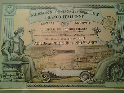 Ass. Comm. et Ind. Franco-Italienne Action 1923, Automobile décorative