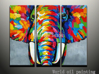 100%Hand Painted Abstract Wall Animal Elephant A sef of 3 Pieces Oil Painting