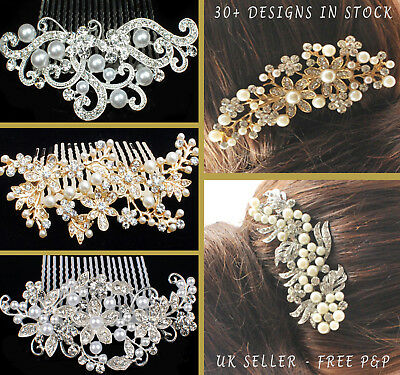 Bridal Hair Comb Wedding Combs Diamante Crystal Pearl Vintage Slide Clip Tiara