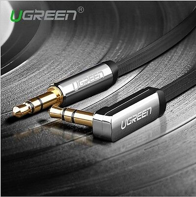 3.5mm Jack Audio Male to Male Cord Right Angle Flat Aux Cable Headphone MP3 Car