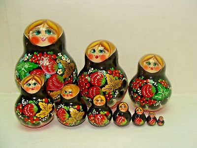 """New Hand Painted 5"""" Russian Nesting Doll Matryoshka 10 Pc Set igned By Artist"""
