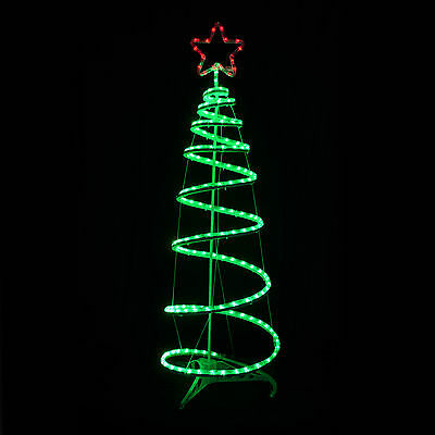 Spiral Tree & Star Christmas Decoration Rope Light 120cm Indoor Outdoor Mains