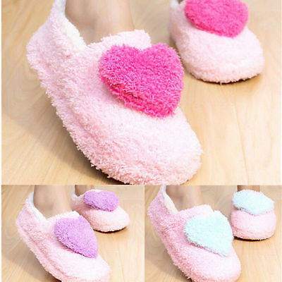 Womens Girls Winter Warm Fleece Heart Shoes Soft Indoor Home Anti-Slip Slippers