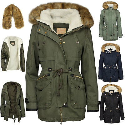 7a4063936b5d Damen Winterjacke 2 In 1 Baumwolle Teddy Fell Military Style Cotton Parka  Mantel