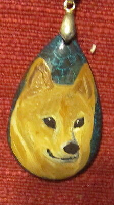 Finnish Spitz hand painted on a teardrop shpaed gemstone pendant/bead/necklace