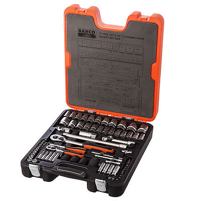 "Bahco S800 77-Pce 1/4"" & 1/2"" Sq.Drive Metric & AF Socket Set Ratchet & Case New"