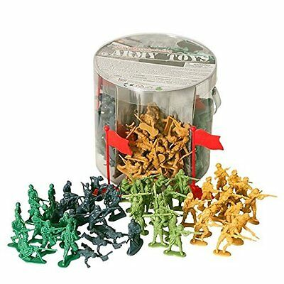 Army Toys - Large Bucket of Toy Soldiers in 4 colours with National Flags 200