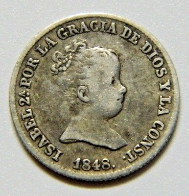 1848 Isabel Ii 1 Real Madrid Spanish Silver Coin
