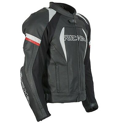 RICHA Piranha Leather Motorcycle Black/White/Red Bike Jacket D3O Armour WAS £299