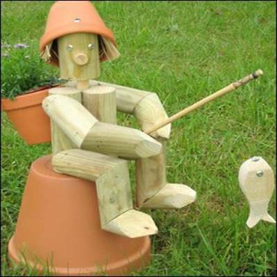 wooden flower pot man with Fishing Rod & WOODEN FLOWER POT man with Fishing Rod - £46.00 | PicClick UK