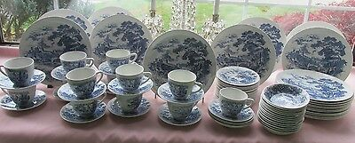 79 Pcs Wedgwood Enoch England Countryside Pat Blue Transfer Dinner Set