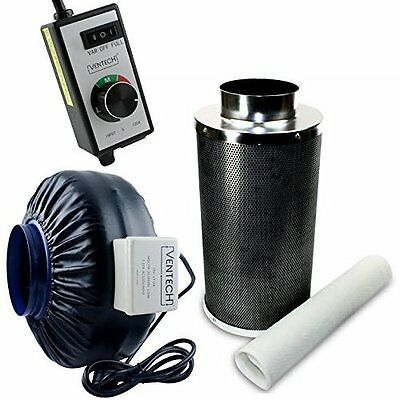 VenTech VT IF6+CF6-B Inline Exhaust Blower Fan with Carbon Filter and Variable