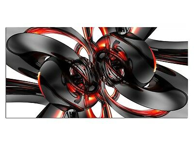 HD Glasbild EG4100500613 CHROME DESIGN ROT 100 x 50 cm Wandbild ABSTRAKT