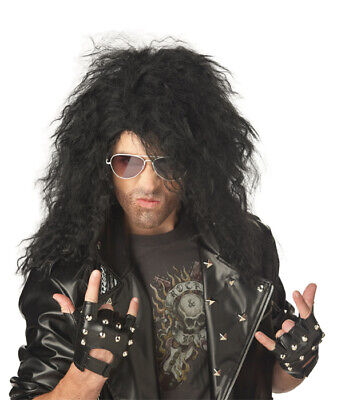 Heavy Metal Rocker Halloween Costume Wig - Black