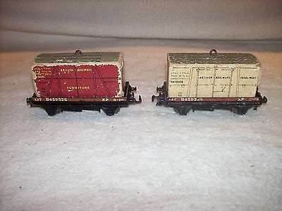 (2) Antique Hornby Dublo Flat Freight Cars With Loads 13T B459325 Xp 6-18