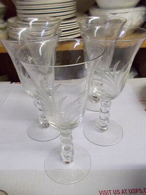 "Set of 5 CANDLEWICK ""Wheat"" Water Goblets"