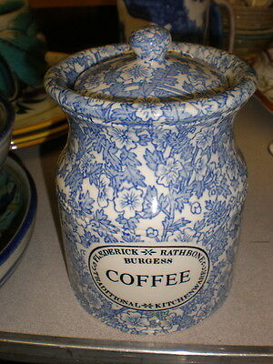 Frederick Rathbone Burgess COFFEE Lidded Container Burleigh Blue & White