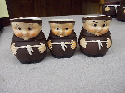 3 Vintage Goebel Friar Tuck Monk Mini Creamers  - #FT9