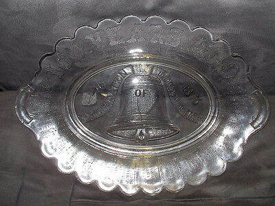 Antique EAPG 1776-1876 Liberty Bell Declaration of Independence Bread Plate