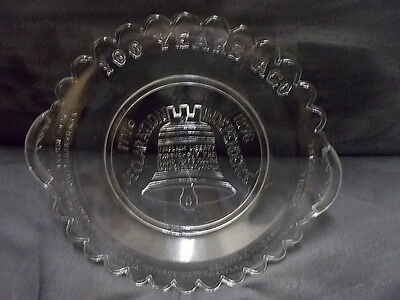 Antique EAPG 1776-1876 Liberty Bell Declaration of Independence Relish Dish