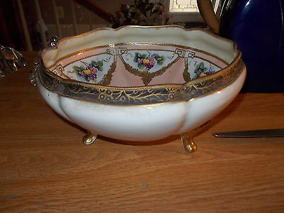 Handpainted Footed  NIPPON Center Bowl - Peach Center w/Gold Trim