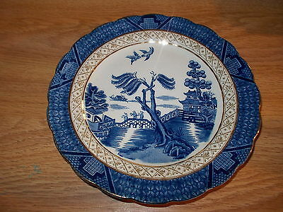 3 Antique BOOTHS Real Old Willow Bread Plates