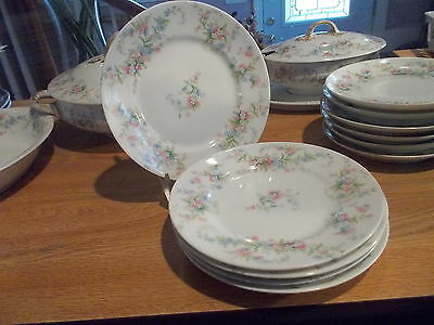 5 Wm. GUERIN LIMOGES Floral Bread & Butter Plates - Pink, Blue, & White Flowers