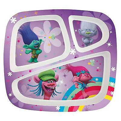 TROLLS- 3 section melamine divided plate