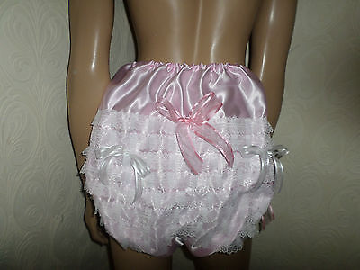 Adult Baby Sissy Pink Satin Lace Trim Panties White  Bows 30-45  Waist