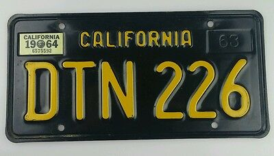 VTG 1964 California Automobile License Plate Black and Yellow Classic Car