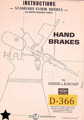 Dreis & Krump 131 Series, Hand Brakes, Instructions and Parts Manual Year (1965)