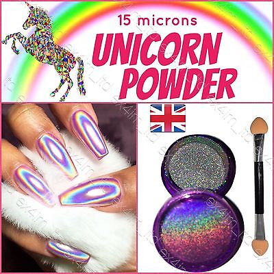 UNICORN NAIL POWDER HOLOGRAPHIC EFFECT MIRROR HOLO CHROME NAILS PIGMENT 15µ! UK