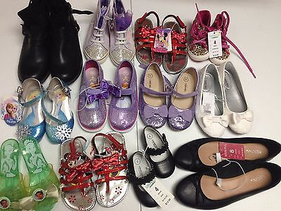 Lot Of 12 Pairs Shoes Sneakers Athletic Ballet For Girl's Toddlers Women's Nwt