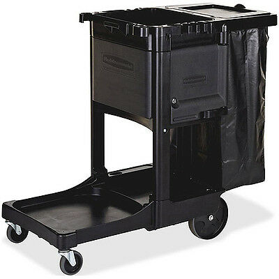 Rubbermaid Executive Janitor Cleaning Cart, Black