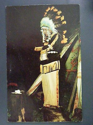 Indian In Native Dress At Tepee Vintage Curt Teich Color Chrome Postcard 1955