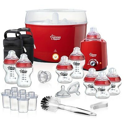 Tommee Tippee Closer to Nature Red Essentials Kit, BPA Free Bottles & Steriliser