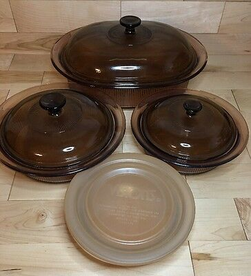 Lot of 8 Vision Corning Amber Brown Ribbed Casseroles, Roaster Oval w/ lids
