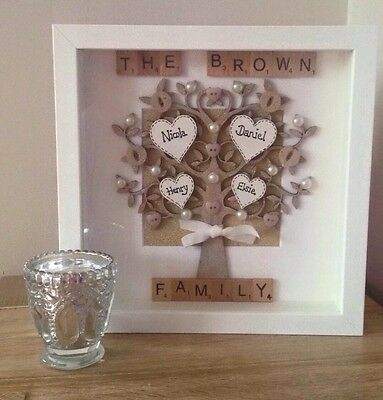 Personalised Family Tree scrabble frame Mothers Day keepsake new home Birthday