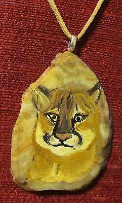 Cougar -Mountain Lion- hand painted on fossil Slice pendant/bead/necklace