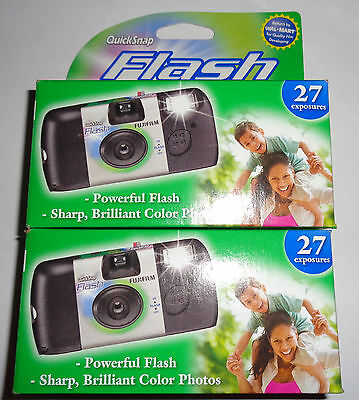 2 PACK FujiFilm QuickSnap Flash 800 35mm Single Use Camera, 27 Exposures Each