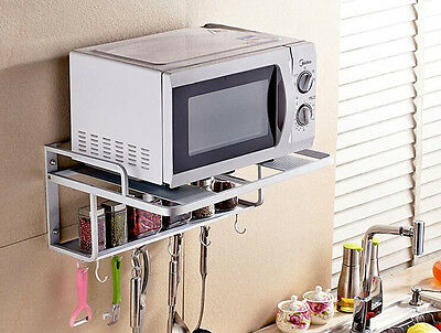 Double Layer Alumimum Microwave Oven Wall Mount Shelf With Removable