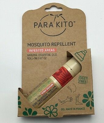 ParaKito Mosquito Repellent Roll On Gel 0.67 Oz Essential Oils France